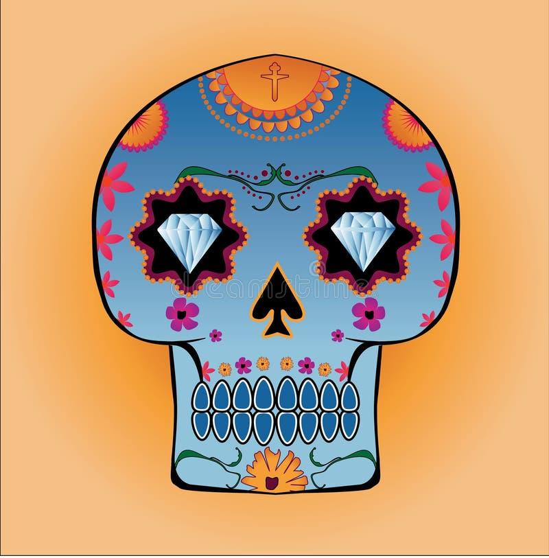 Crâne de sucrerie avec des yeux de diamant et des configurations florales illustration de vecteur