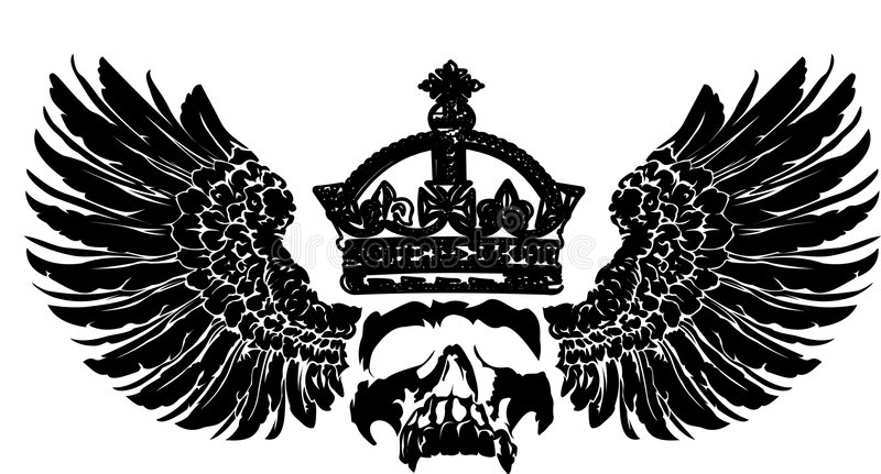 Crâne de tête sur une aile. illustration libre de droits