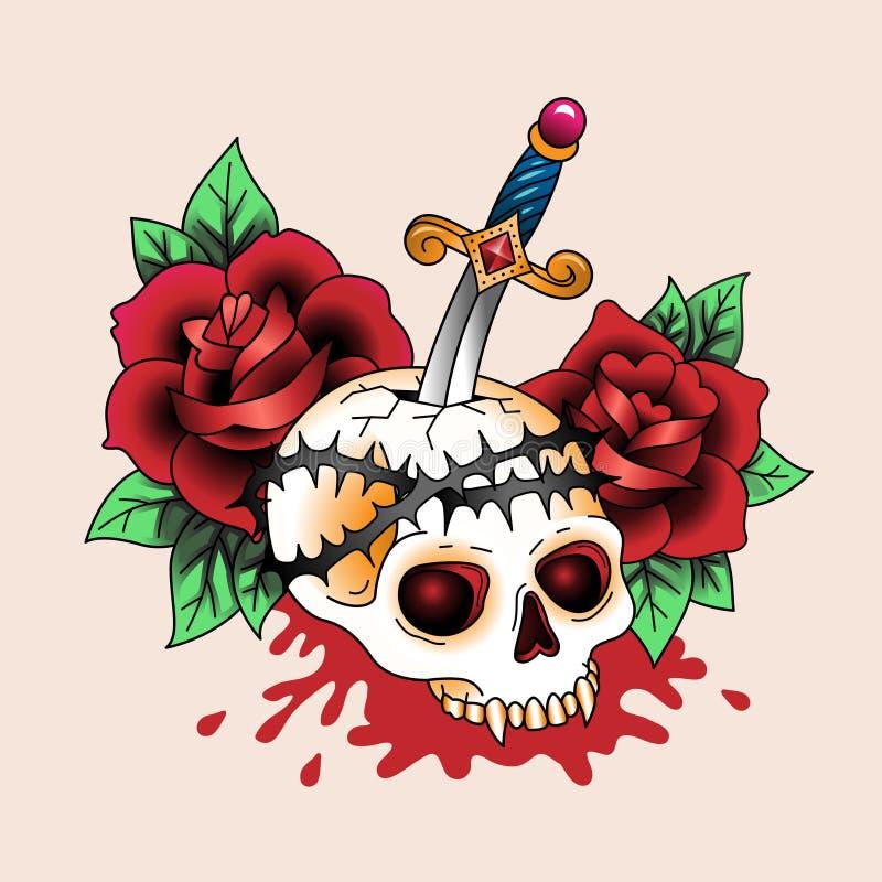 Crâne de tatouage illustration de vecteur