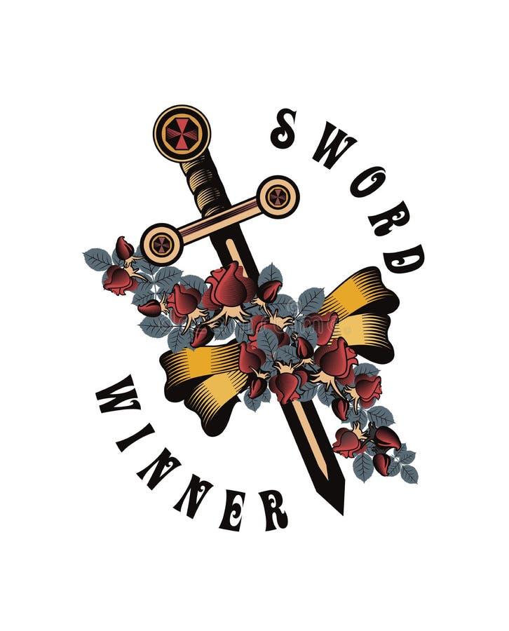 Crâne de vintage avec l'emblème d'épée et d'ailes illustration libre de droits