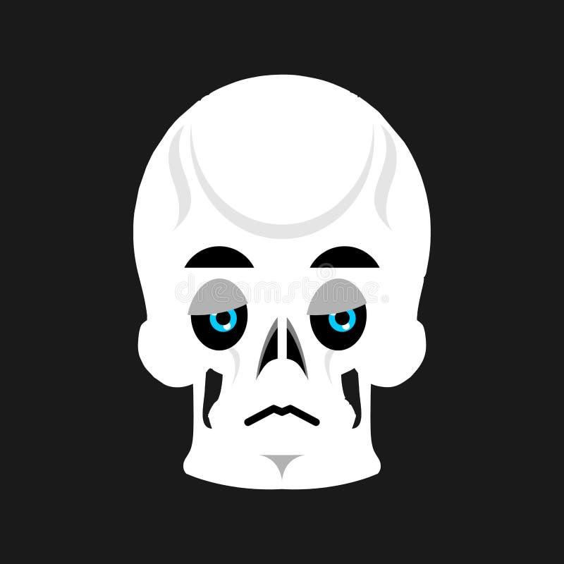 Crâne Emoji triste émotion douleureuse principale squelettique d'isolement illustration de vecteur