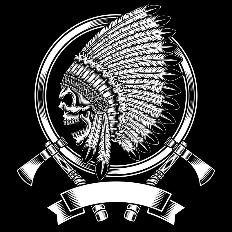 Crâne en chef indien indigène avec Tomahawk illustration stock