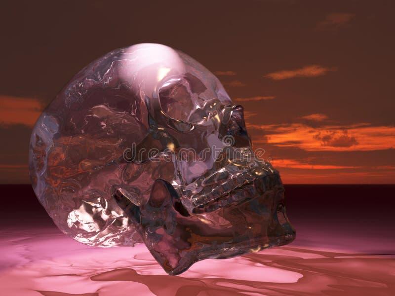 Crâne en verre ou en cristal illustration stock
