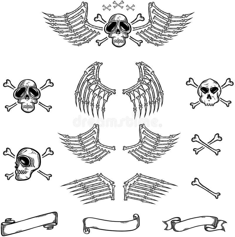 Crâne et ailes photo stock