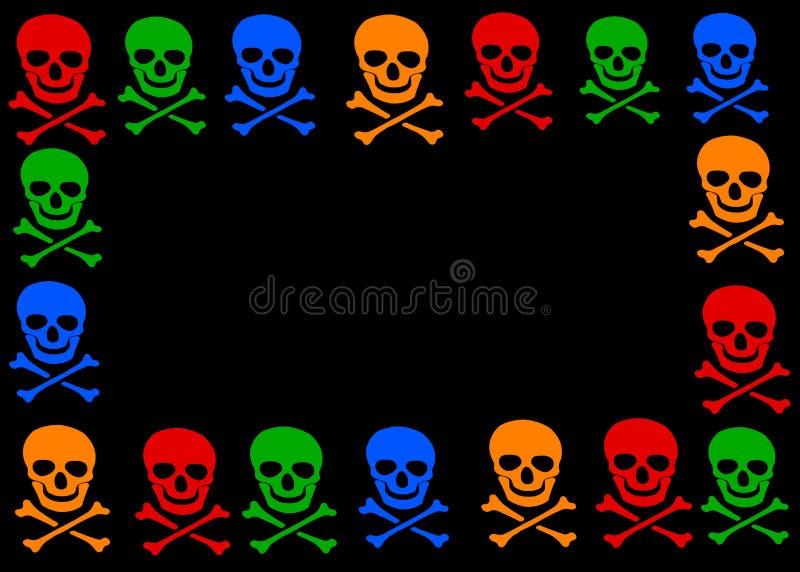 Crâne et cadre d'os croisés illustration de vecteur