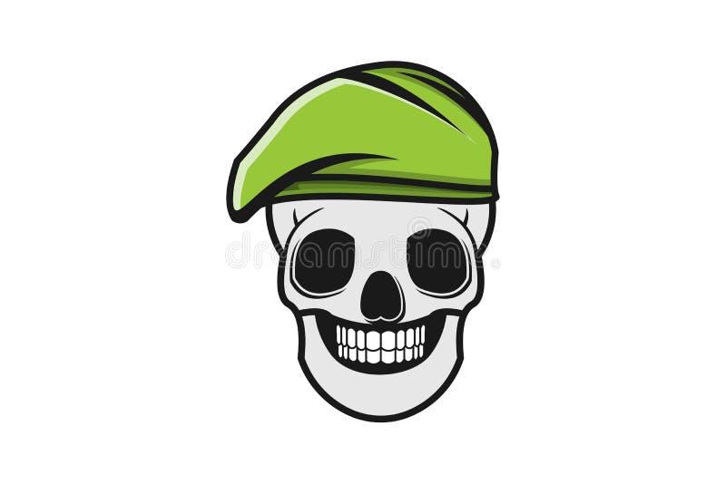 Crâne et chapeau militaire Logo Designs Inspiration, illustration de vert de vecteur illustration stock