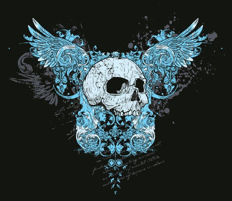Crâne et conception d'ailes illustration libre de droits