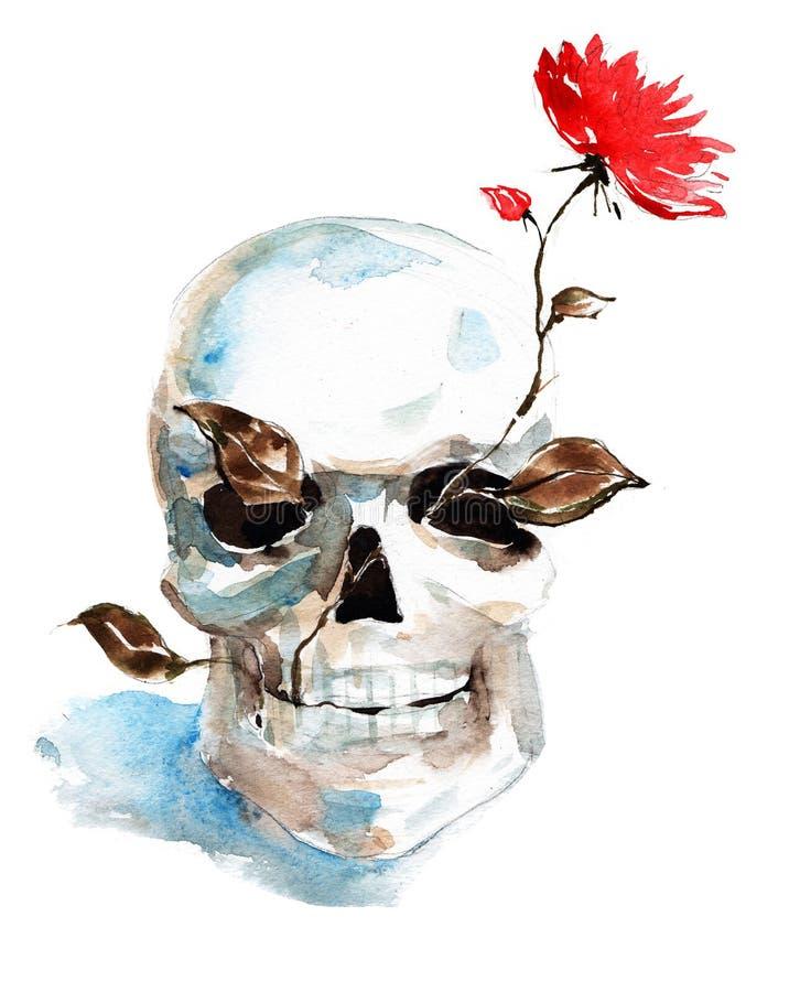 Crâne et fleur illustration de vecteur