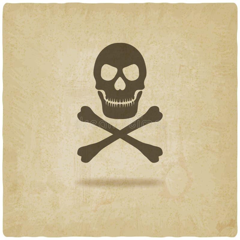 Crâne et fond d'os croisés vieux illustration libre de droits