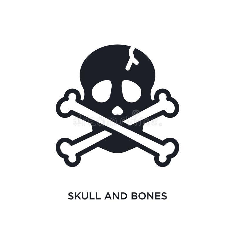 crâne et icône d'isolement par os illustration simple d'élément des icônes nautiques de concept symbole editable de signe de logo illustration de vecteur