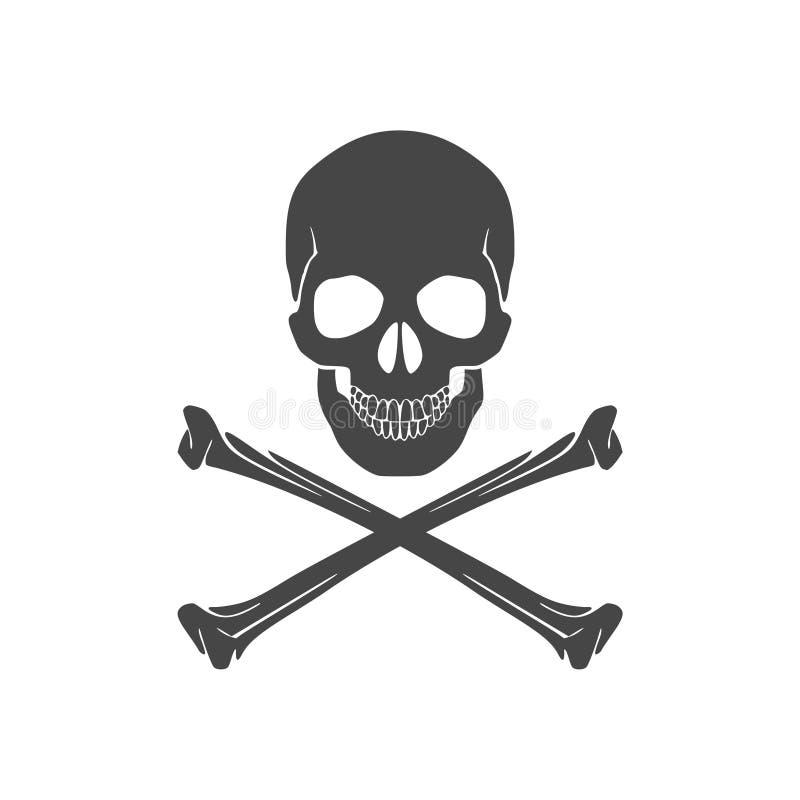 Crâne et icône ou logo d'os illustration de vecteur