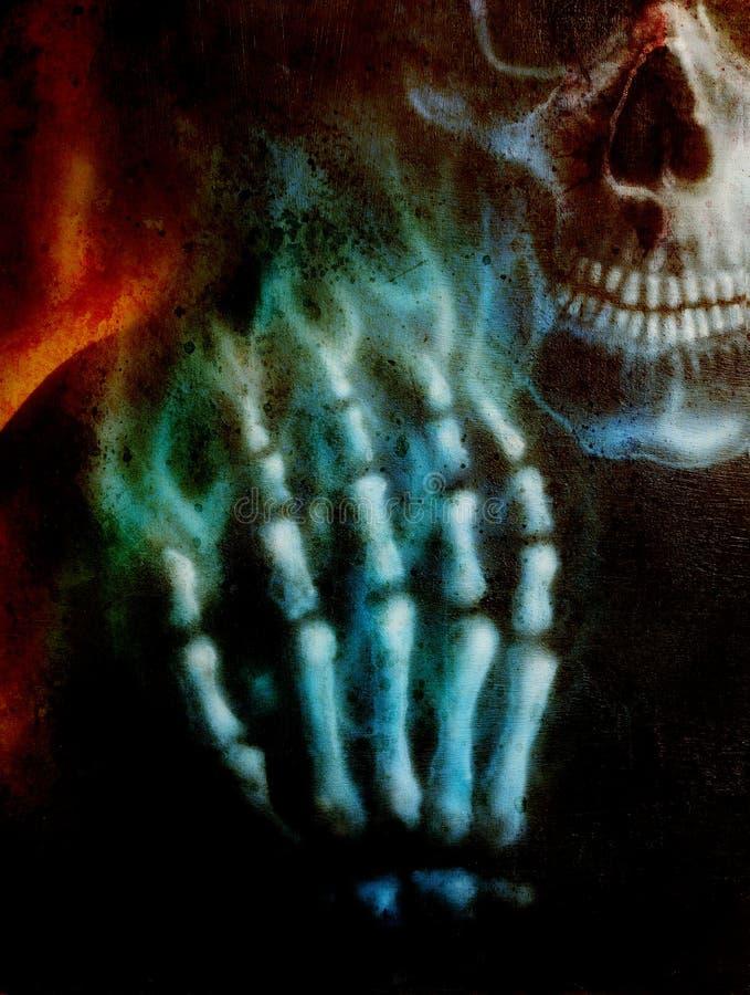 Crâne et main et feu détaillés de squelette, sur le fond noir illustration stock