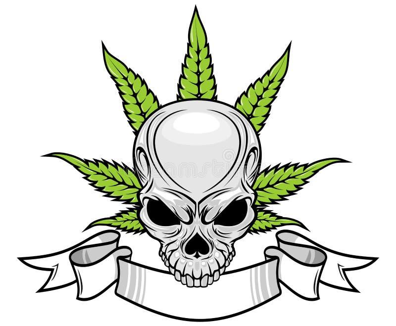 Crâne et mauvaise herbe illustration stock
