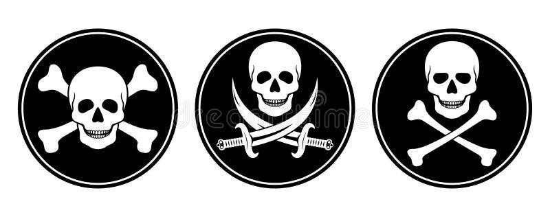 Crâne et os croisés, et crâne avec des épées dans le vecteur illustration libre de droits