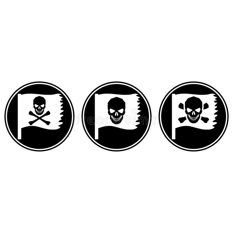 Crâne et os croisés icône ou bouton illustration de vecteur