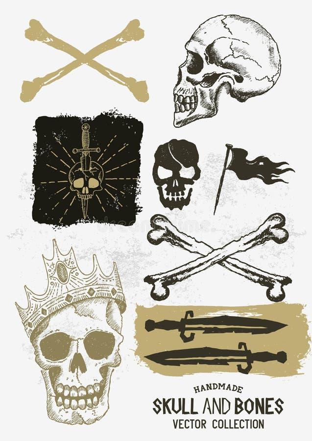 Crâne et os de pirate de vecteur réglés illustration libre de droits