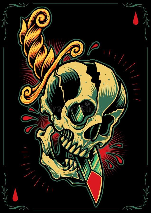 Crâne et poignard illustration stock