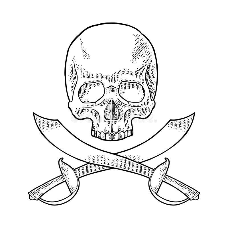 Crâne et sabres croisés de pirate Gravure de cru d'isolement sur le blanc illustration libre de droits