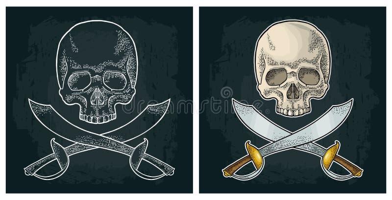 Crâne et sabres croisés de pirate Gravure de cru d'isolement sur le blanc illustration de vecteur