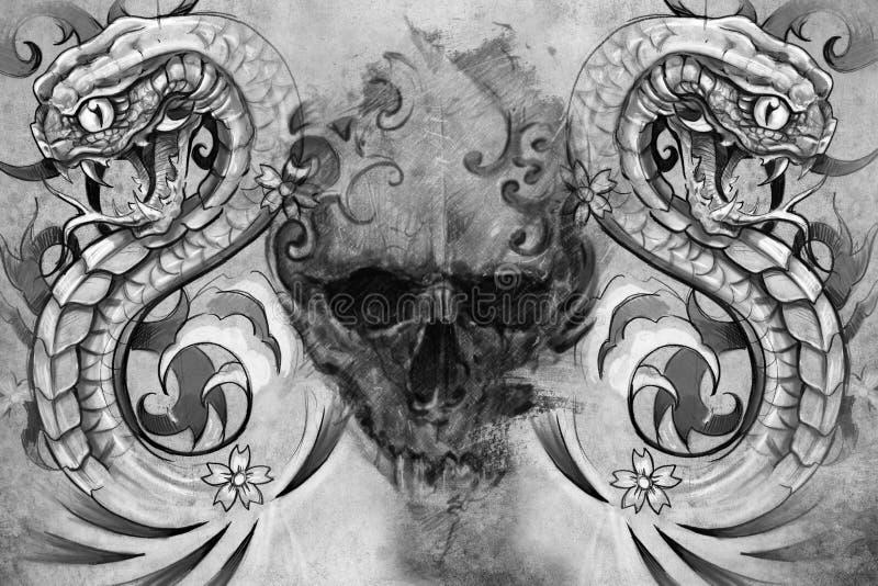 Crâne et serpents. Conception de tatouage illustration libre de droits