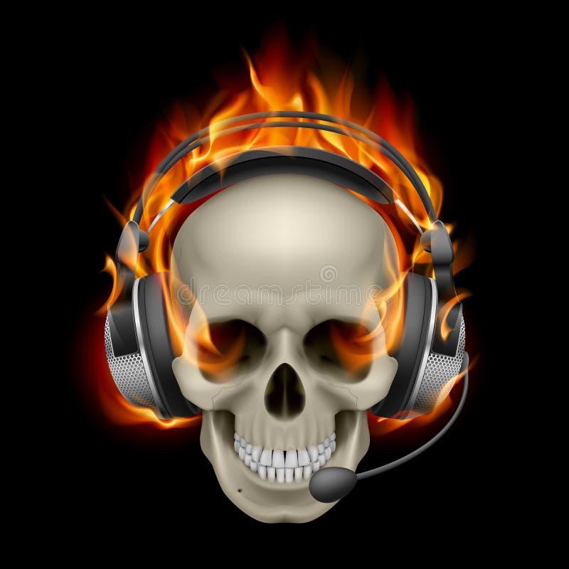 Crâne flamboyant avec des écouteurs illustration libre de droits