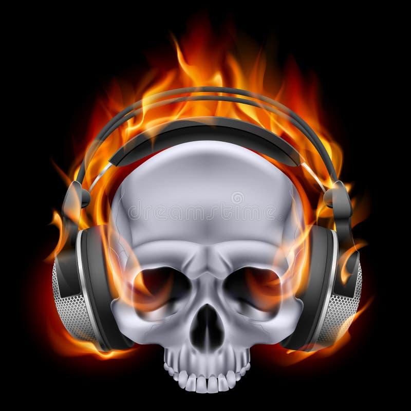 Crâne flamboyant dans des écouteurs. illustration de vecteur