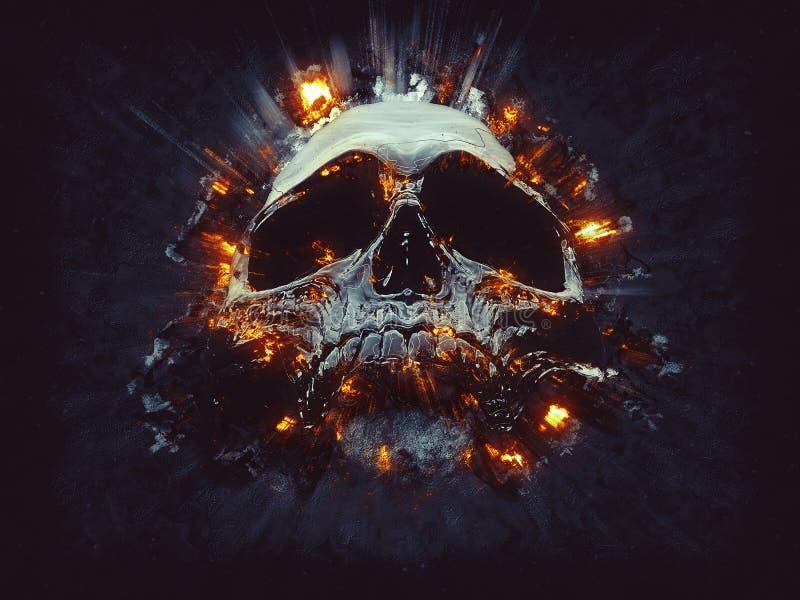 Crâne foncé - petites explosions illustration stock