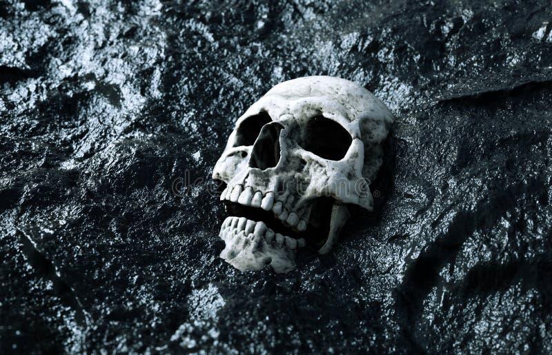 Crâne humain antique Concept d'apocalypse rendu 3d illustration stock