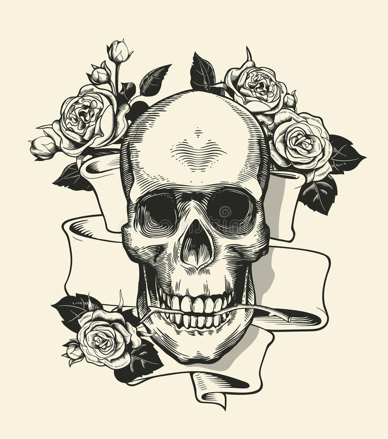 Crâne humain avec la rose saisie avec les mâchoires et le ruban sur le fond Symbole de la mort et de mal vecteur monochrome illustration libre de droits