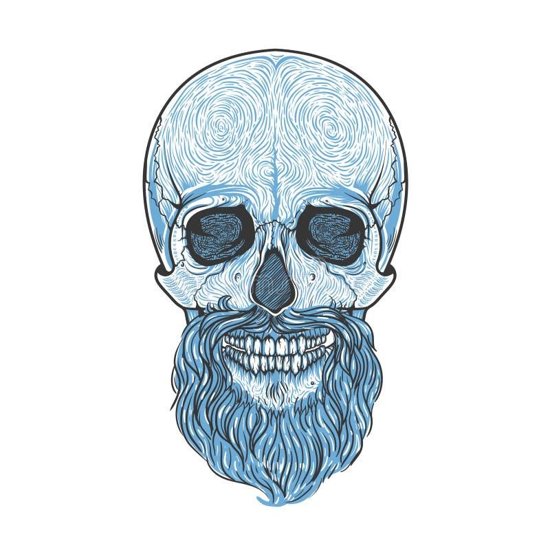 Crâne humain avec le style tribal de barbe Illustration tirée par la main de vecteur Blackwork de tatouage de Boho photos libres de droits