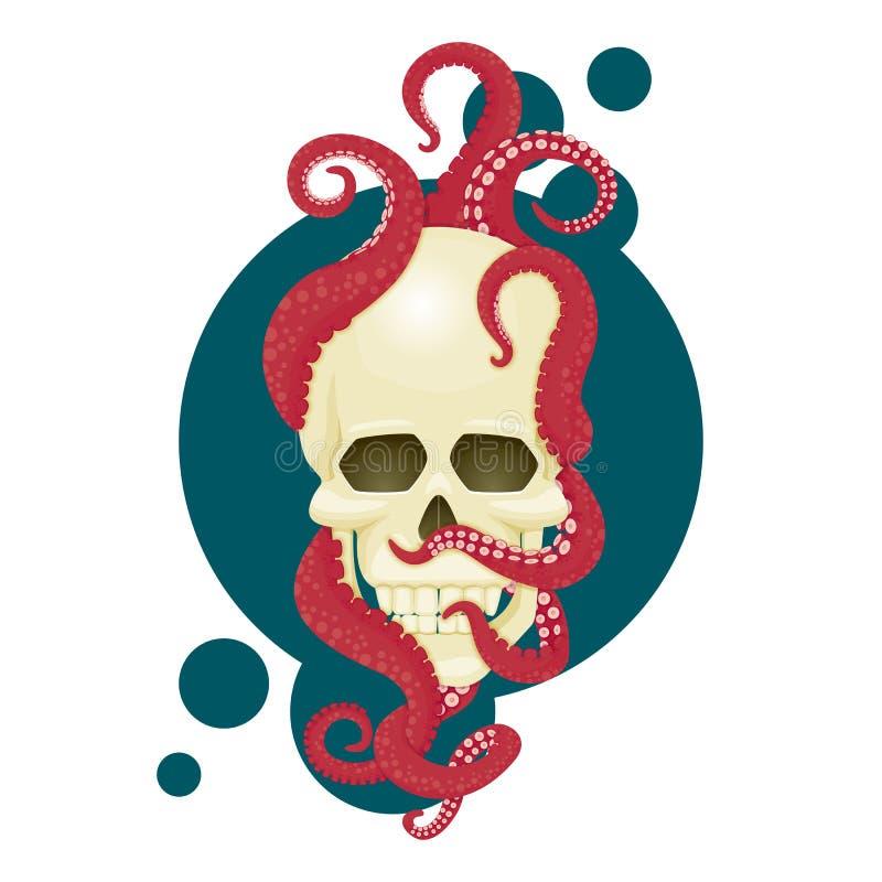 Crâne humain avec les tentacules roses de poulpe Illustration navale de vecteur, conception d'affiche illustration stock