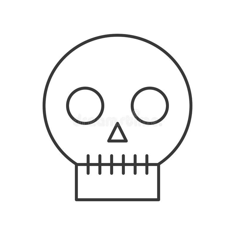 Crâne humain, course editable de caractère d'icône de Halloween illustration stock