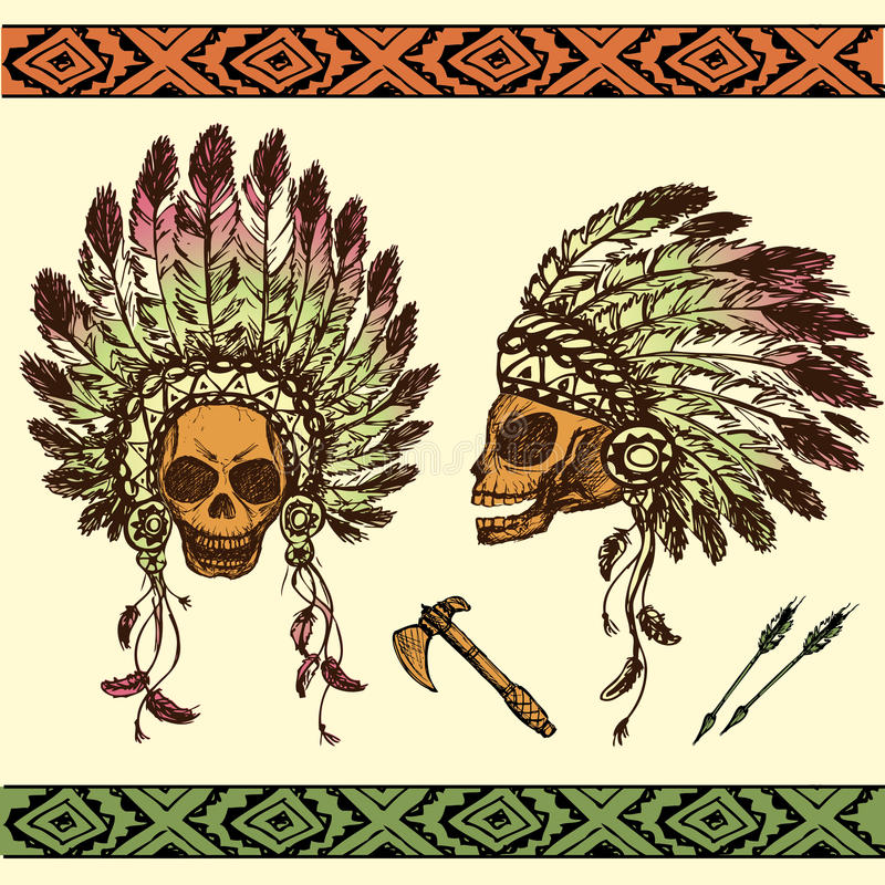 Crâne humain dans la coiffe en chef indienne indigène avec le tomah illustration de vecteur