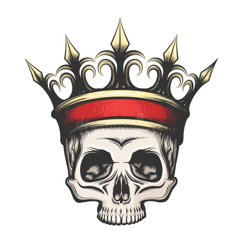 Crâne humain dans la couronne dessinée dans le style de gravure illustration stock