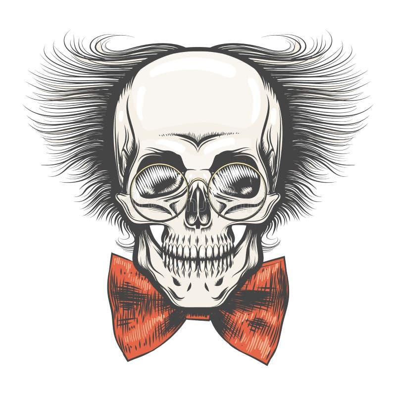 Crâne humain dans les verres de professeur et le noeud papillon rouge illustration stock