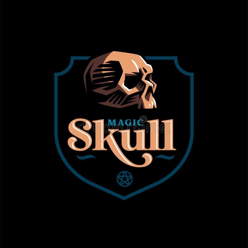 Crâne humain dans un style minimalistic illustration stock