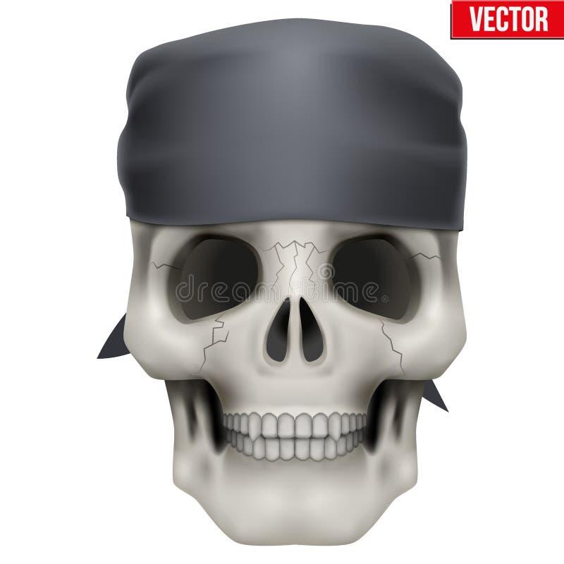 Crâne humain de vecteur avec le bandana sur la tête illustration de vecteur