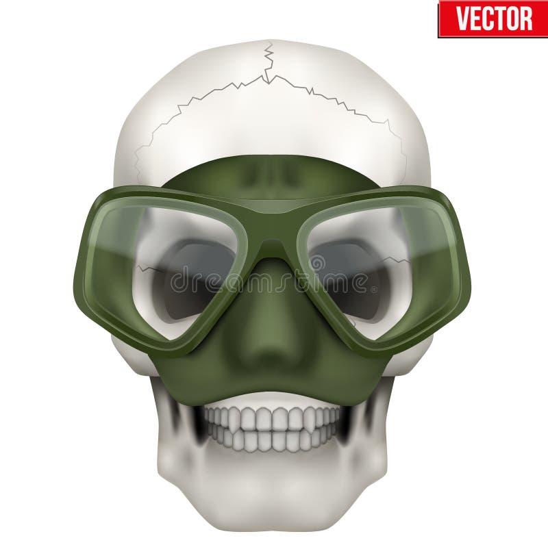 Crâne humain de vecteur avec le scaphandre sous-marin de plongée illustration stock