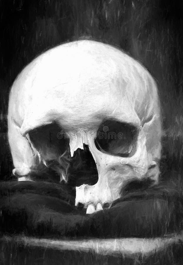Crâne humain endommagé, dessin de fusain illustration de vecteur