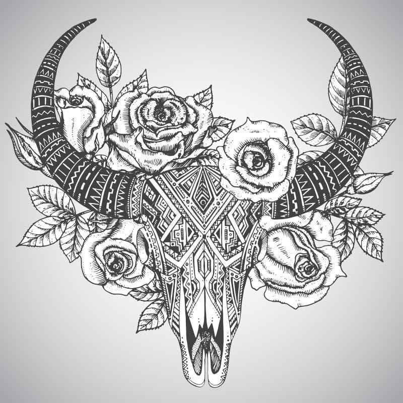 cr ne indien d coratif de taureau dans le style tribal de tatouage avec des fleurs illustration. Black Bedroom Furniture Sets. Home Design Ideas