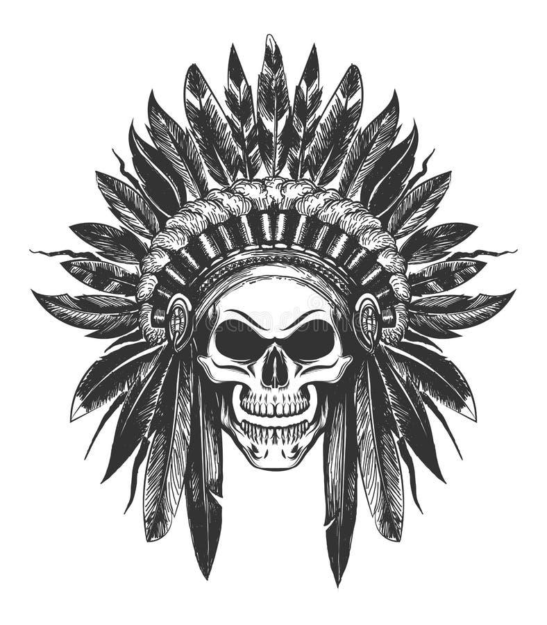 Crâne indien indigène dans la coiffe de guerre illustration libre de droits