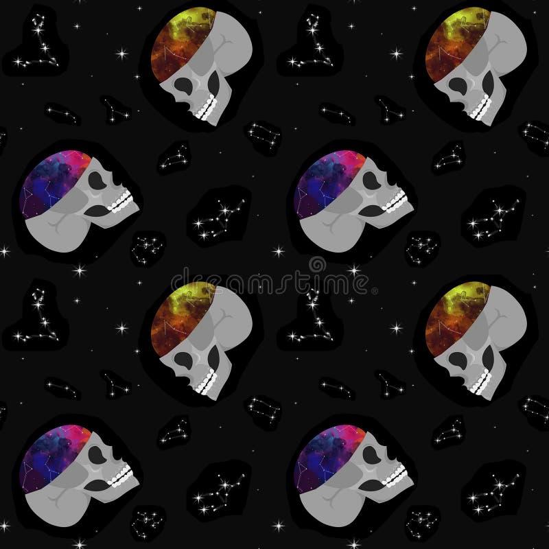 Crâne, l'espace, constellations Configuration sans joint Conception pour le bureau, tissu, habillement illustration stock