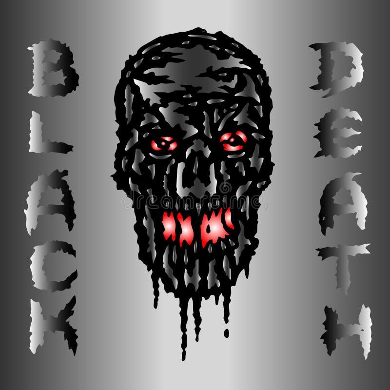 Crâne métallique coulant avec le sang noir La mort noire Illustration de vecteur illustration libre de droits