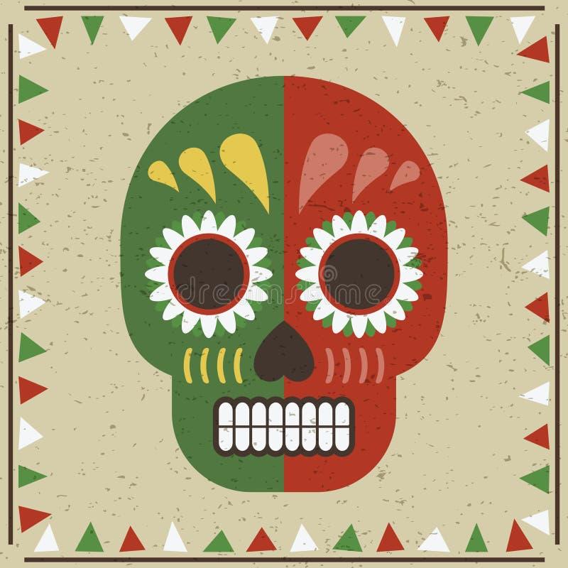 Crâne mexicain illustration de vecteur
