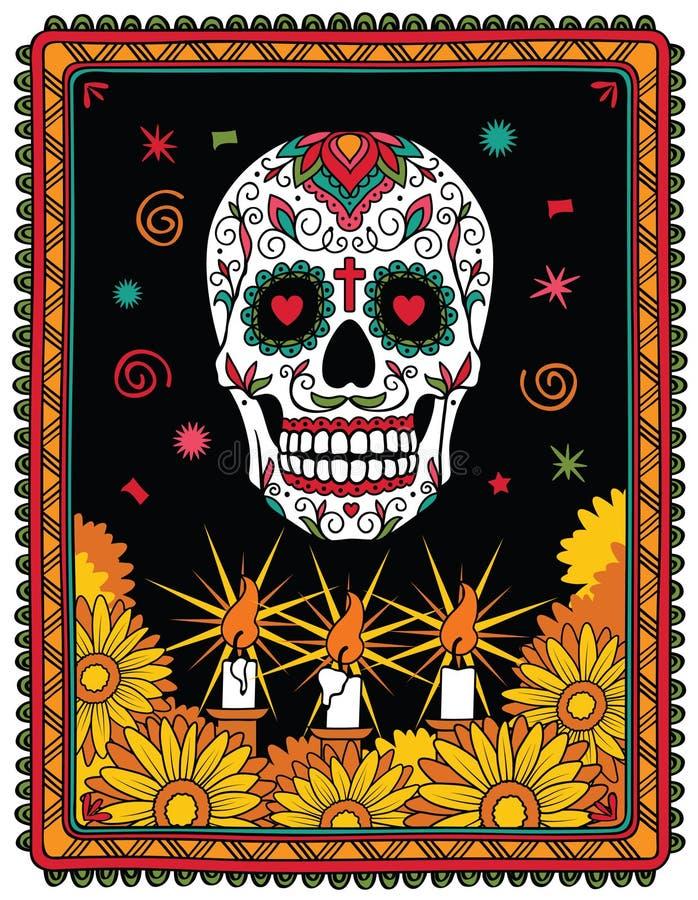 Crâne mexicain de sucre illustration de vecteur
