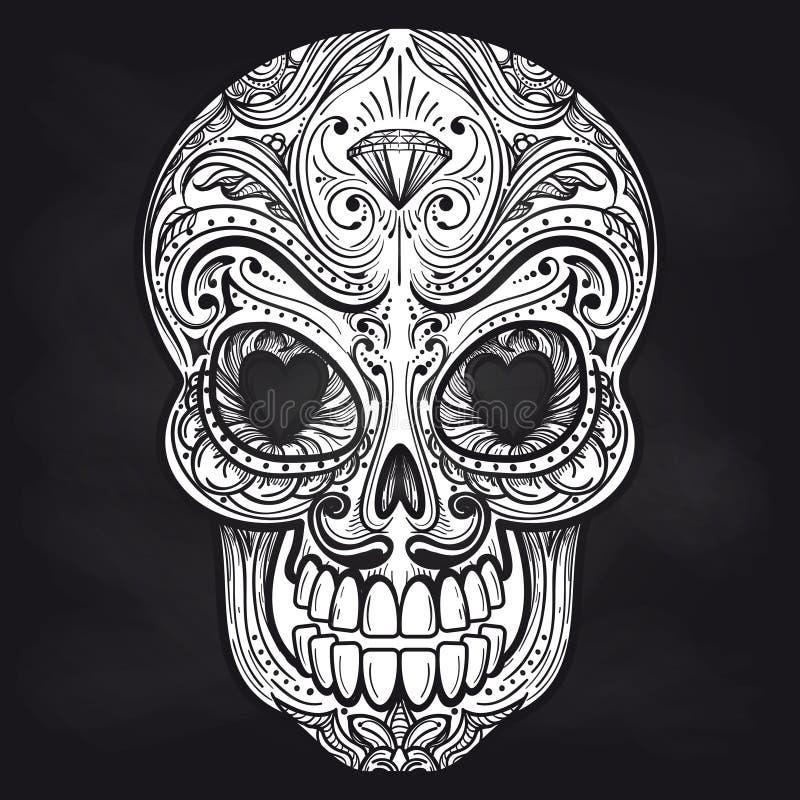Crâne mexicain sur le fond de tableau illustration stock