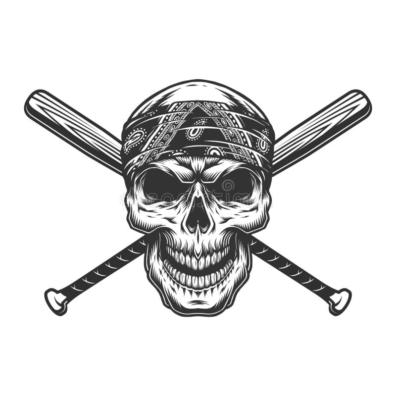 Crâne monochrome de bandit de cru dans le bandana illustration stock