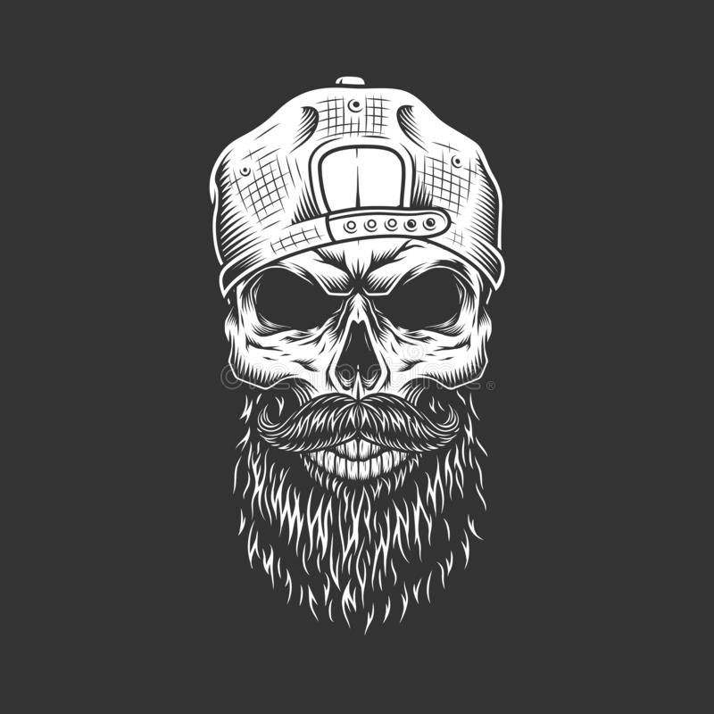 Crâne monochrome de hippie de vintage dans le chapeau illustration stock