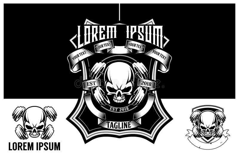 Crâne noir et blanc stupéfiant avec le calibre de logo de vecteur de barbell ou d'haltère illustration libre de droits