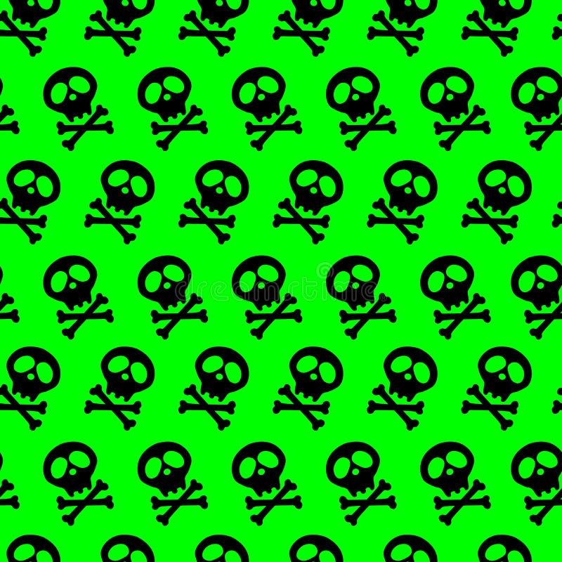 Crâne noir et os croisés Illustration de vecteur fond vert clair sans couture acide poison rayonnement illustration de vecteur